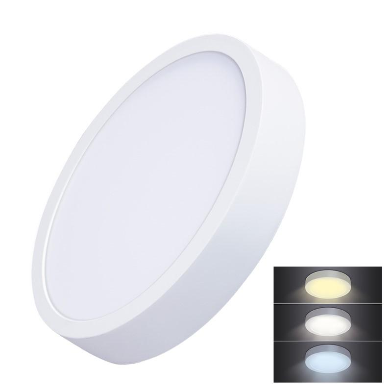 Solight LED mini panel CCT, přisazený, 24W, 1800lm, 3000K, 4000K, 6000K, kulatý